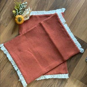 Copper orange fringe placemat table linen